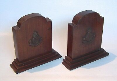Vintage Carved Wooden Bookends Royal Horse Artillery Military King George