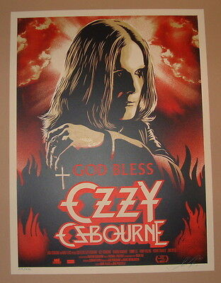 Shepard Fairey God Bless Ozzy Osbourne Movie Poster Print Signed Numbered 2011
