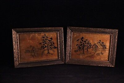 Pair Of Vintage Wood Framed Foil Silhouette Pictures