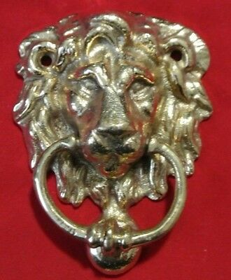 "New NOS Victorian Solid Brass 4.25"" Lion Head Door Knocker Made in India"