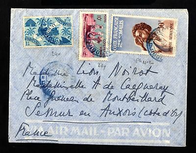 15512-COTE Françaises des SOMALIS-AIRMAIL COVER DJIBOUTI to FRANCE.1949.FRENCH.