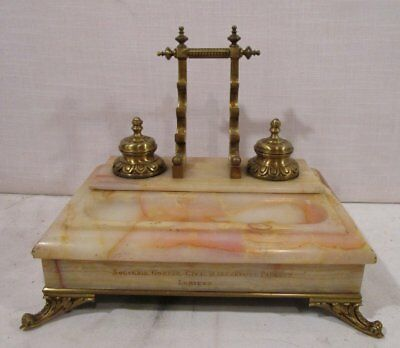 Antique French Bronze & Marble Inkwell With Pen Rest Secrétaire Parquet Lorient