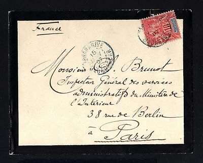 17290-MADAGASCAR-MOURNING COVER TANANARIVE to PARIS(france).1907.FRENCH colonies