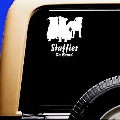 Staffordshire Bull Terrier STAFFIES Trio Car Sticker Dog Viny Decal