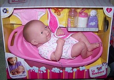"La Newborn Designed by Berenguer NEWBORN BATH SET & 14"" DOLL New"