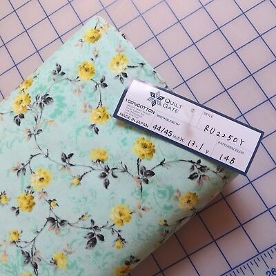1/2 Yard, Cotton Sewing Quilting Fabric By Quilt Gate, Flower Calico On Mint
