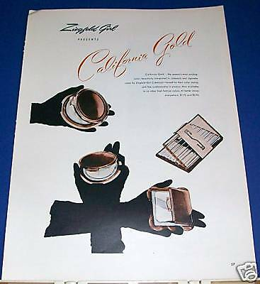 1946 California Gold Ziegfeld Girl compact cig case Ad