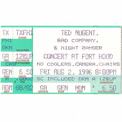 TED NUGENT & BAD COMPANY & NIGHT RANGER Concert Ticket Stub 8/2/96 FORT HOOD TX