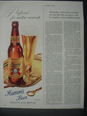 1948 Hamms Beer Smooth and Mellow Theo Hamm Brewing Vintage Print Ad 12729