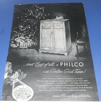 1952 PHILCO High Fidelity Television for Christmas Ad Model 2271