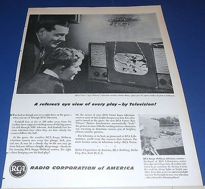 1946 RCA eye witness Television Ad ~ FOOTBALL referee's eye view