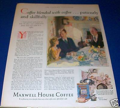 1928 Maxwell House Coffee Art Ad old South Dixie