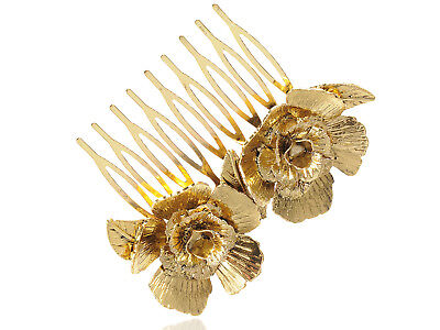 New Gold Tone Metal Vintage Floral Rose Leaf Hair Pin Clip Comb For Womens Gift