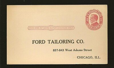 USA Ford Tailoring Chicago 1 Cent McKinley Postcard