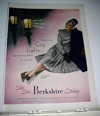1947 Berkshire Stockings City Lights Ad~Brigance Costume/chanda Hat
