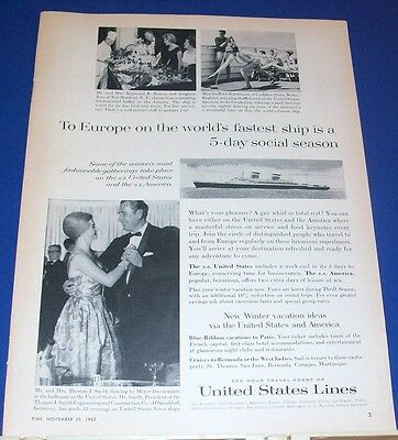 1963 United States Lines Ship Ad famous passengers