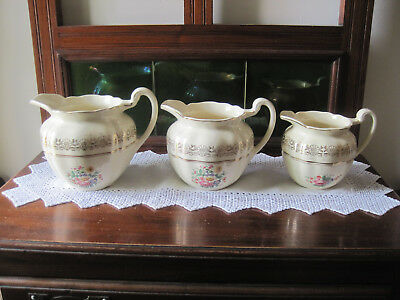 Fabulous Set Of Three Floral Johnson Bros Graduating Jugs