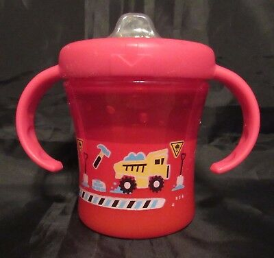 Reborn Toddler baby Fake Milk red sippy cup with trucks & handles Photo prop