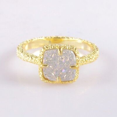 Size 7.5 Natural Agate Druzy Titanium AB Claw Prong Ring Gold Plated H99339