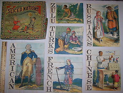 Vtg Antique 1881 Selchow & Righter SLICED NATIONS PUZZLES Politically Incorrect