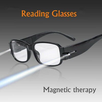 Black Multi Strength LED Reading Glasses Unisex Eyeglass With Magnetic Therapy