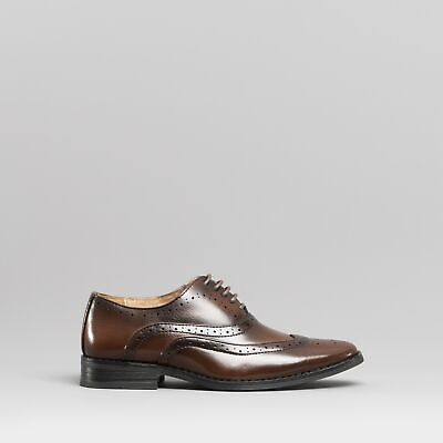 Goor HENRY Boys Kids Lace Up Wedding Formal Smart Oxford Brogue Shoes Brown