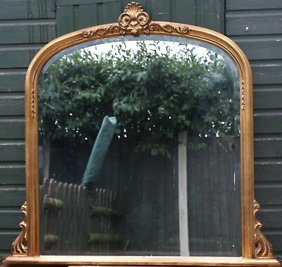 Very Large Quality Looking Gilt Framed Bevel Edged Overmantel Type Wall Mirror
