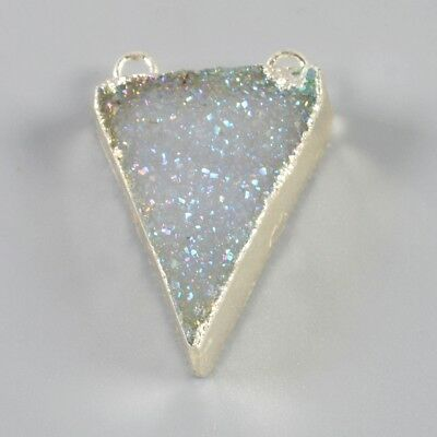 Triangle Agate Druzy Titanium AB Connector Silver Plated H99218