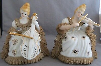 Antique Figurines Lady Musicians marked Andrea Victorian (2)