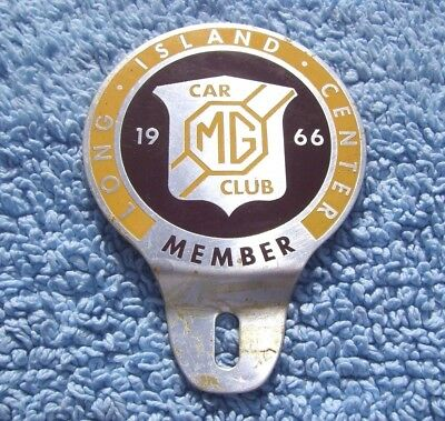 Vintage 1966 Mg Car Club Long Island Centre Badge -Auto Plate Topper Emblem Rare