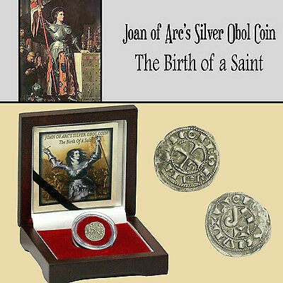 JOAN OF ARC'S SILVER OBOL COIN - The Birth of a Saint in Presentation Box + COA