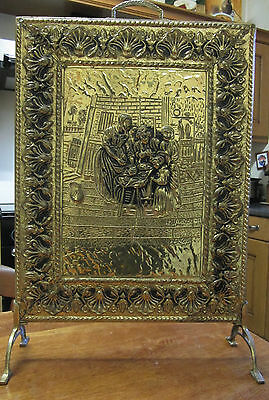 Old Victorian Style Antique Embossed Brass Fireside Screen Medieval Scenes c1930