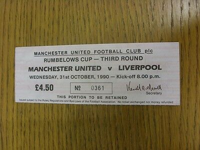 31/10/1990 Ticket: Manchester United v Liverpool [Football League Cup] . We try