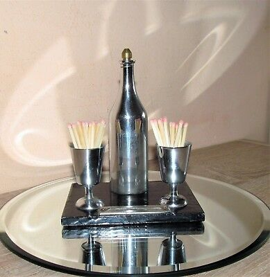 Superb antique Art Deco chrome and iron table lighter with match stick holders