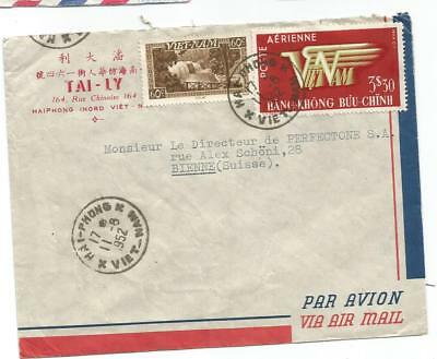 Vietnam Pa 3$30+60C Lettre Cover Avion Haiphong 11.8.1952 To Suisse