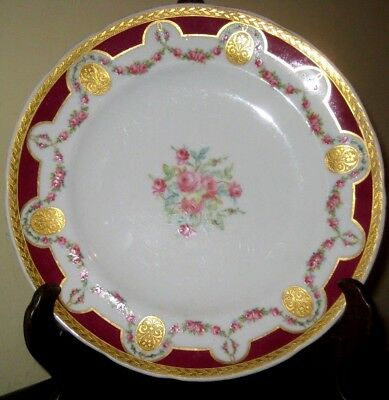 19thc Minton plate with gilded floral decoration