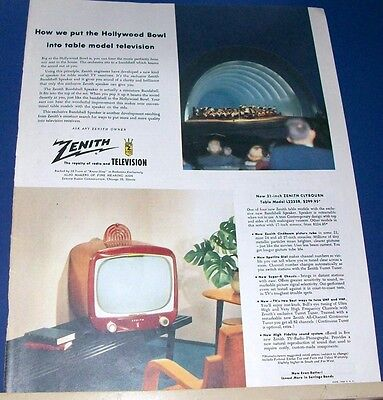 1953 Zenith puts Hollywood Bowl orchestra into Model L2235R ~ Table Top Ad
