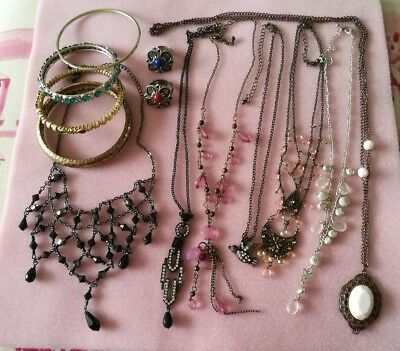 Job Lot Vintage Jewellery Necklaces, Bracelets, Rings 13 Items In Good Condition