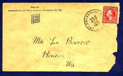 U.S.-1921-Cover sent to Horicon, WI from SOO Line Railway-TYPE A140 Stamp