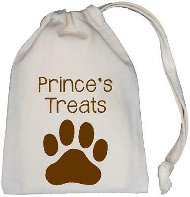 Personalised Dog Treat Bag - Natural (Cream) Cotton Drawstring Bag - 3 sizes
