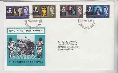 Gb Stamps 1964 Shakespeare Stratford Phosphor First Day Cover From Collection