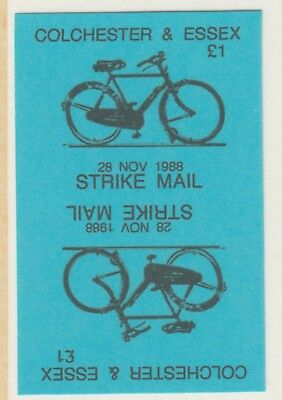 GB 5887 - Colchester & Essex STRIKE MAIL £1 Bicycle PROOF TETE-BECHE PAIR