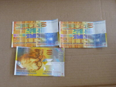 Switzerland 3 10 Franc Currency Notes