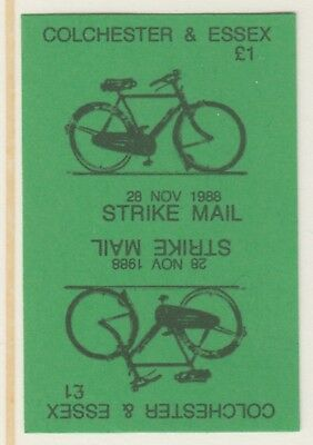 GB 5889 - Colchester & Essex STRIKE MAIL £1 Bicycle PROOF TETE-BECHE PAIR