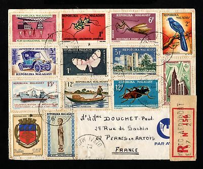 16926-MADAGASCAR-REGISTERED Multifranking COVER IVATO to PERNES (france).1969.