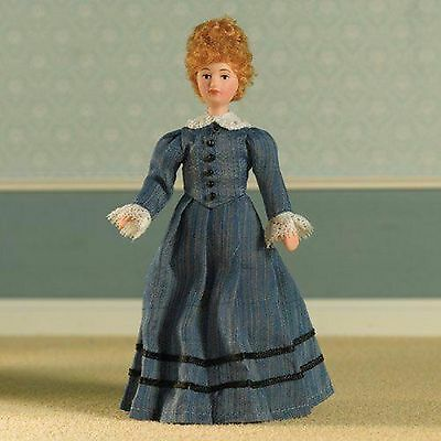 1/12Th  Dolls House  Victorian/edwardian Lady In Blue Satin Gown