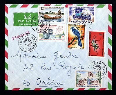 15491-MADAGASCAR-AIRMAIL COVER TULEAR to ORLEANS (france).1966.Malagasy.