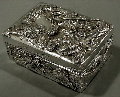 Japanese Sterling Box    * DRAGONS IN FLAMES *      Meiji