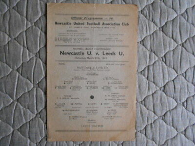 Newcastle Utd V Leeds Utd War-Time Football League Match Programme March 1943