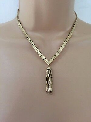 Vintage 60's 70's Gorgeous Gold Tone Articulated Tassel Detail Necklace